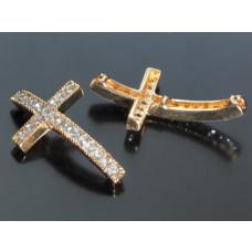 Krzyż z kryształkami 38x21mm light gold