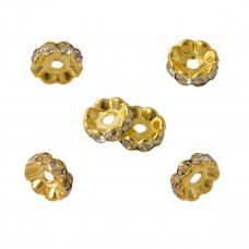 Przekładki rondelki koloru złotego z kryształkami crystal 10mm