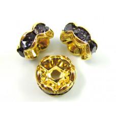 Przekładki z kryształkami złocone tanzanite 8mm