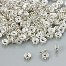 Przekładki rondelki z kryształkami crystal 6mm