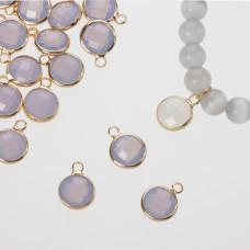 Zawieszka w okuciu w złotym kolorze z jednym oczkiem  opal gray 10mm