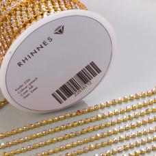 Taśma z kryształkami kolor złoty lt. peach AB 2mm