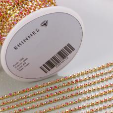 Taśma z kryształkami kolor złoty siam AB 2mm