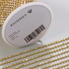 Taśma z kryształkami kolor złoty smoked topaz 2mm