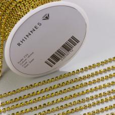 Taśma z kryształkami kolor złoty olivine 2mm