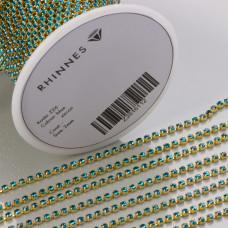 Taśma z kryształkami kolor złoty blue zircon 2mm