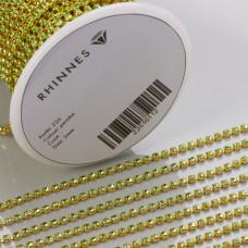Taśma z kryształkami kolor złoty peridot 2mm