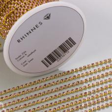 Taśma z kryształkami kolor złoty amethyst rose 2mm