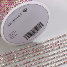 Taśma z kryształkami kolor srebrny siam AB 2mm