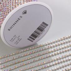 Taśma z kryształkami kolor srebrny lt. rose AB 2mm