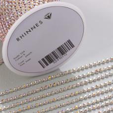 Taśma z kryształkami kolor srebrny lt. peach AB 2mm