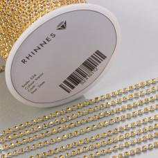 Taśma z kryształkami kolor srebrny topaz 2mm
