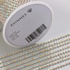 Taśma z kryształkami kolor srebrny jonquil AB 2mm