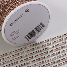 Taśma z kryształkami kolor srebrny smoked topaz 2mm