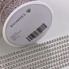 Taśma z kryształkami kolor srebrny lt. amethyst 2mm