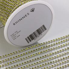 Taśma z kryształkami kolor srebrny olivine 2mm