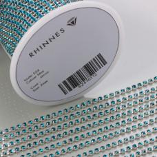 Taśma z kryształkami kolor srebrny blue zircon 2mm