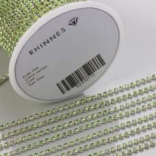 Taśma z kryształkami kolor srebrny peridot 2mm