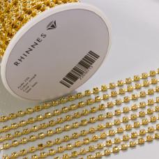 Taśma z kryształkami kolor złoty jonquil 3mm