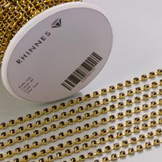 Taśma z kryształkami kolor złoty jet 3mm