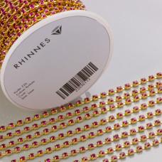 Taśma z kryształkami kolor złoty fuchsia 3mm