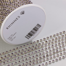 Taśma z kryształkami kolor srebrny lt. amethyst 3mm