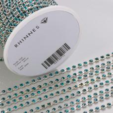 Taśma z kryształkami kolor srebrny blue zircon 3mm