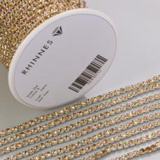 Taśma z kryształkami kolor srebrny lt. topaz 3mm