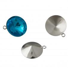 Baza do rivoli z jednym oczkiem kolor srebrny 18mm