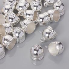 Końcówki do rzemieni i sznurków beczułki w srebrnym kolorze 15.5mm