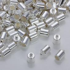 Gładkie końcówki w srebrnym kolorze 8mm