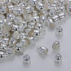 Końcówki do rzemieni i sznurków beczułki w srebrnym kolorze 6.0mm