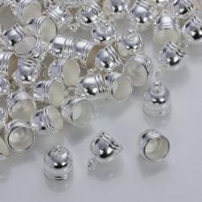 Końcówki do rzemieni i sznurków beczułki w srebrnym kolorze 8.5mm