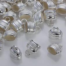 Podłużne końcówki z falkami do rzemieni w srebrnym kolorze 17x12mm