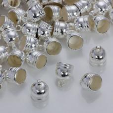 Rowkowane końcówki do rzemieni i sznurków beczułki w srebrnym kolorze 10mm
