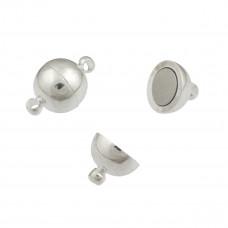 Zapięcie magnetyczne, kolor srebrny, kulka 10mm