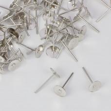 Sztyfty talerzyki w kolorze ciemnego srebra  6mm