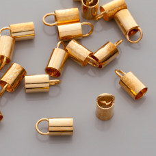 Końcówki do wklejania, otwarte, Ag 925, pozłacane 6mm