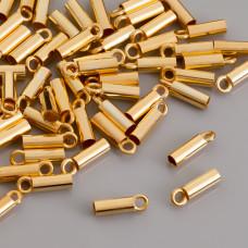 Końcówki do rzemieni i linek, Ag 925,  pozłacane 2,5mm