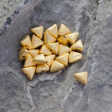 Srebrny satynowy koralik trójkąt Ag925 pozłacany 7.5mm