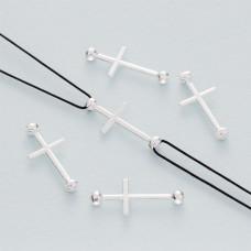 Srebrny łącznik krzyż z dwoma kuleczkami ag925 22x10mm