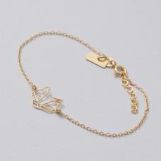 Bransoletka złocona z panterą Ag925 16.5 cm