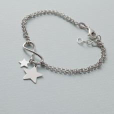 Bransoletka z gwiazdkami i nieskończonością rodowana AG925 17 - 20 cm
