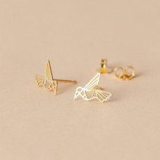 Srebrne, pozłacane kolczyki kolibry, próba Ag925 9x11.5mm