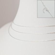 Srebrny łańcuszek z przedłużką cardano, próba Ag925 44cm