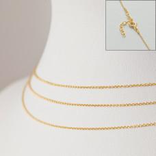 Srebrny, pozłacany łańcuszek z przedłużką ankierka gładka, próba Ag925 44cm