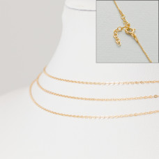 Srebrny, pozłacany łańcuszek z zapięciem płaskie owale, próba Ag925 45cm