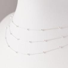 Srebrny łańcuszek simple z kuleczkami, próba Ag925 2.5mm