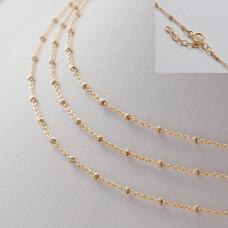 Gotowy łańcuszek ozdobny z oponkami diamentowanymi pozłacany AG925 45cm