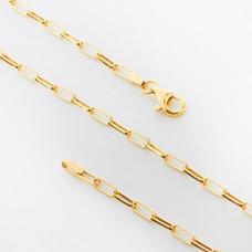 Srebrny łańcuszek rolo podłużny AG925 45cm złocony